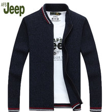 2016 Promotions latest AFS JEEP / Battlefield Jeep thick winter coat zipper cardigan sweater collar men's casual loose sweater80