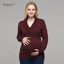 Свитер для беременных с длинными рукавами; повседневная одежда для грудного вскармливания; вязаный свитер для беременных; зимние топы для кормящих женщин