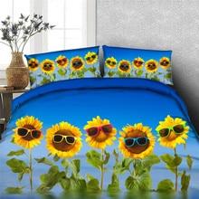 Free shipping 100%cotton 3d blue sunglasses sunflower 4pcs b
