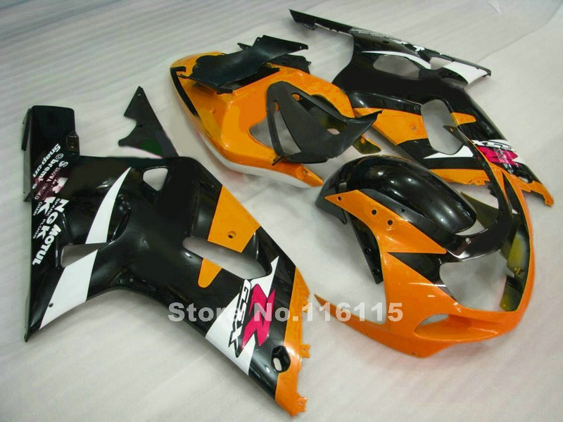 Perfect fit for SUZUKI Fairing kit GSXR600 GSXR750 K1 2001 2002 2003 orange black fairings set GSXR 600 750 01 02 03 BF74 lowest price fairing kit for suzuki gsxr 600 750 k4 2004 2005 blue black fairings set gsxr600 gsxr750 04 05 eg12