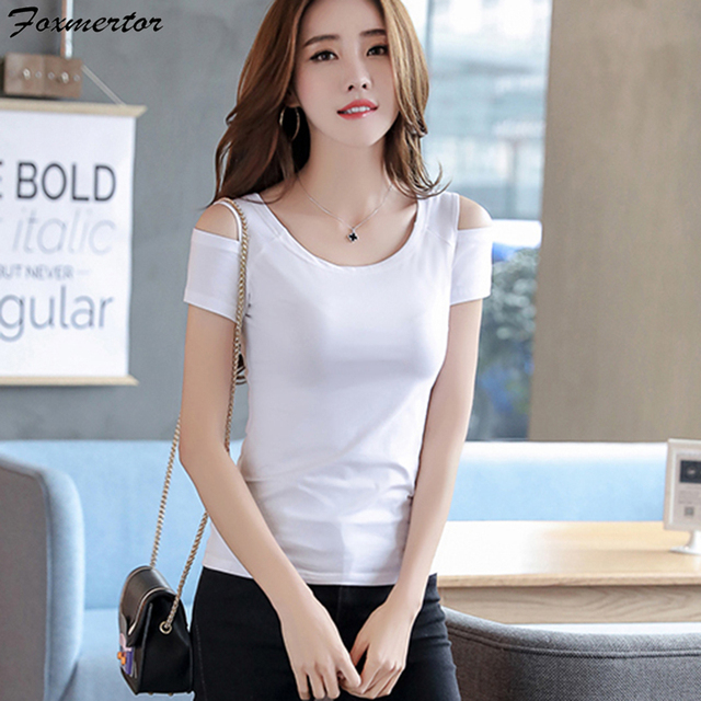 Solid T Shirt Women Cold Shoulder Summer Korean Style O-neck Tops Tee Ladies Slim Sexy Off The Shoulder Casual Female Clothes