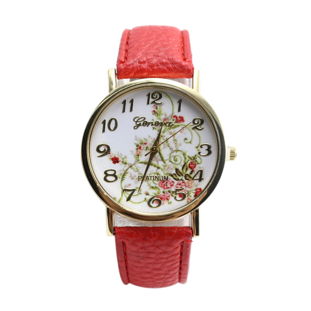 YCYS-Elegant Womens Watches Red Leather Watchband With Flower Pattern Dial-GENEVA