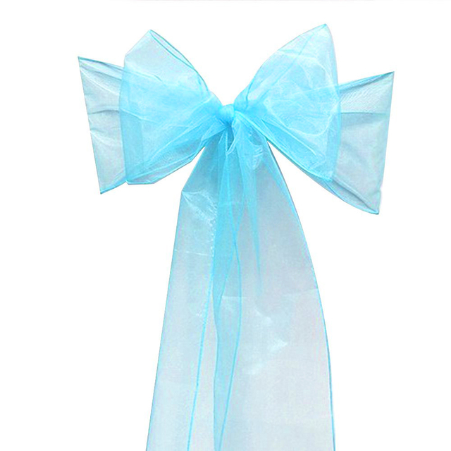 Bows 25pcs Turquoise New Organza Chair Sashes Bow Wedding And Events Supplies Party Decoration