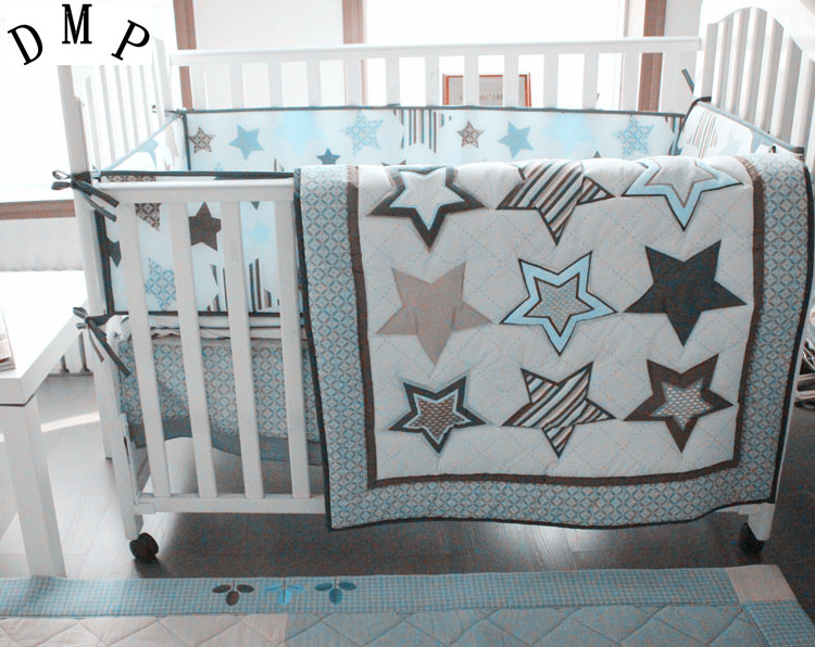 Promotion! 4pcs Embroidery Infant Crib Bed Cot Nursery Baby Bedding Set Crib Bumper ,include (bumpers+duvet+bed Cover+bed Skirt)