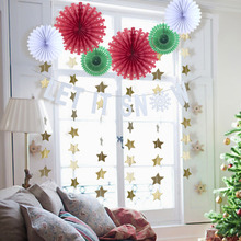 лучшая цена Pack Of 10 Christmas Decorations For Home With Let It Snow Banner Snowflake Paper Fans Star Shape Hanging Garland