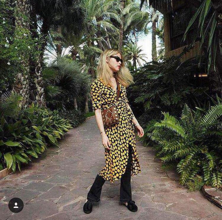 56f65246f4ffd 2019 Summer Women Yellow Floral Print Black Wrap Dresses Ladies Midi ...