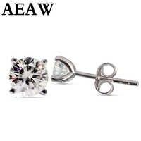 AEAW Moissanite Earrings 3mm And 4mm Diamond Stud Earrings Sterling Silver Classic Lab Diamond 4 Prong Earrings for Women