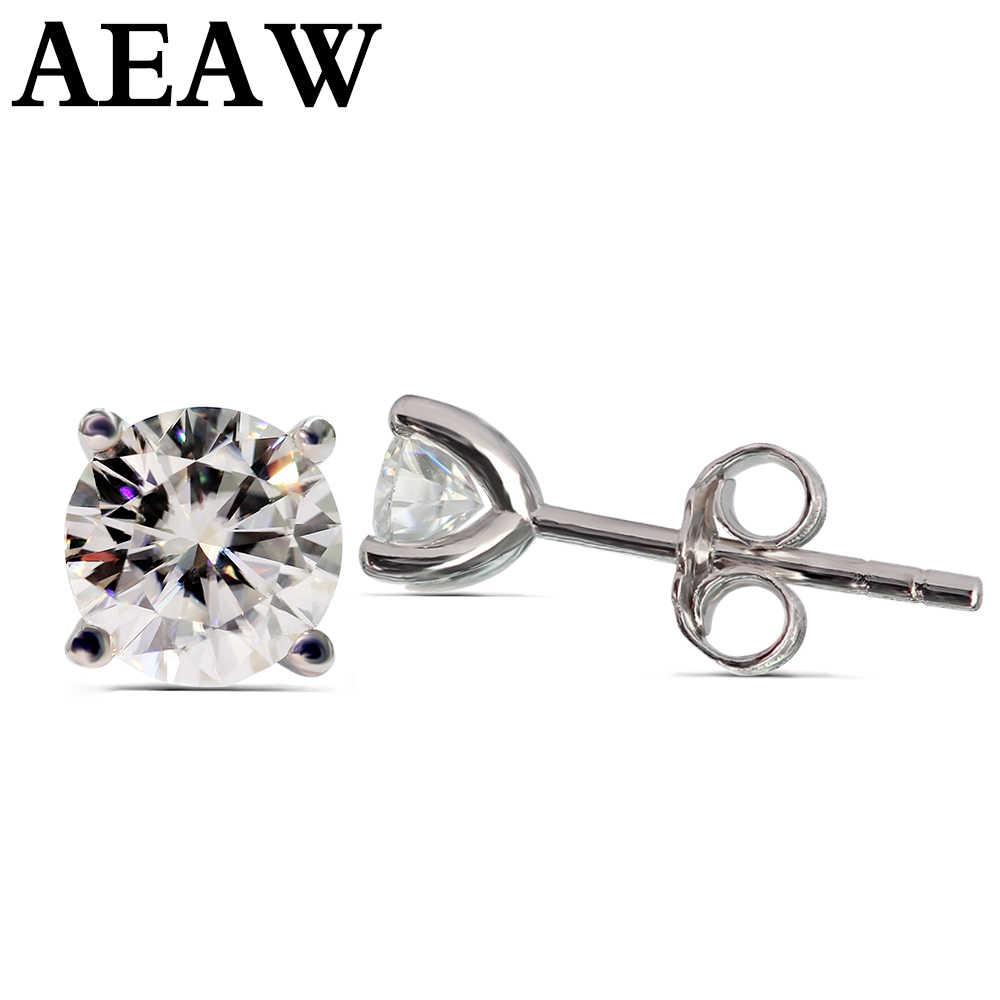AEAW Moissanite küpe 3mm ve 4mm elmas top küpeler ayar gümüş klasik Lab elmas 4 Prong küpe kadınlar için