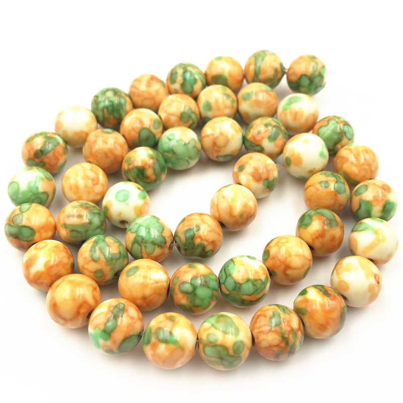 8mm Yellow Green Rainbow Stone Round Spacer Loose Beads for Necklace Bracelet Riverstone Charms DIY Jewelry Making 15inch A157