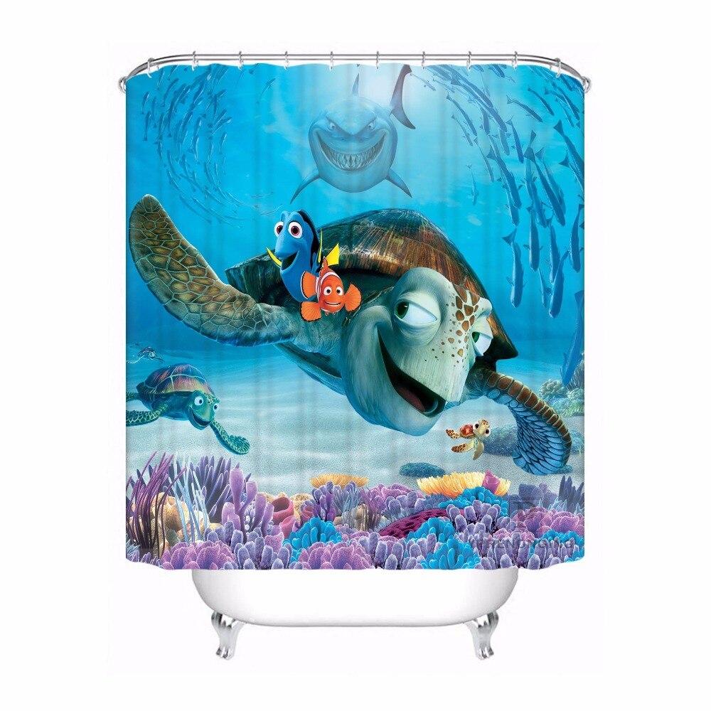 Finding Nemo Bath Towel Set: Custom Waterproof Shower Curtain Finding Nemo Printed