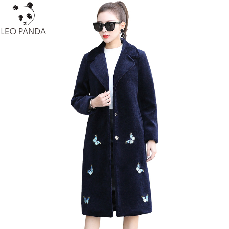 2019 Fashion Winter Jacket Women Real Sheep Shearing Fur Coat Embroidery Natural Fur Coats Autumn Long Thick Warm Wool Jackets