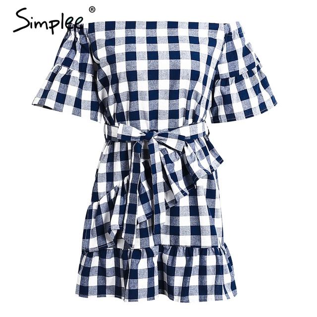 Simplee Off shoulder plaid bow tie summer dress women Casual half flare sleeve beach dresses Streetwear vintage short dress 2017