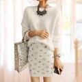 New Fashion 2017 Runway Suit Set feminina de Alta Qualidade Coelho cabelo camisola + Diamante Beading conjunto saia Conjunto de Roupas