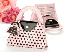Free express shipping 50pcs/lot --Wedding Favor Giveaway Gift, Pink Polka Dot Purse Manicure Set Wedding Gift
