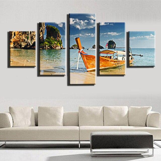 5 Stuk Zeil Boot Canvas Arts Muur Pictures Voor Woonkamer moderne ...