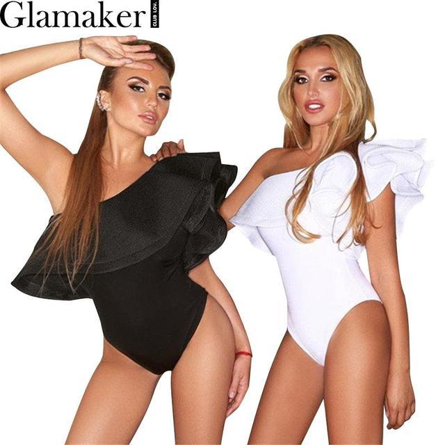 Glamaker Un hombro atractivo de la colmena blanca mujeres mono Sin Mangas del verano elegante mono del mameluco del Otoño partido negro delgado leotardo
