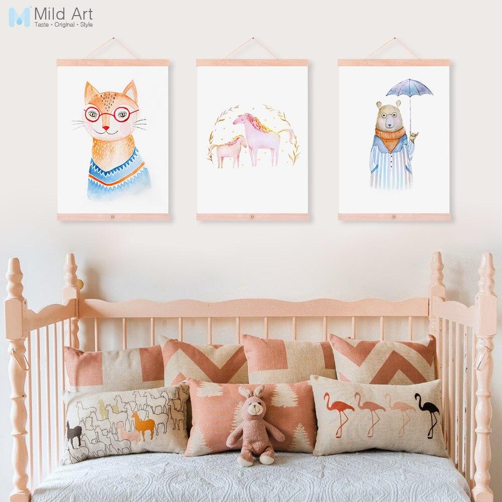 Watercolor Cartoon Animal Horse Bear Fox Wooden Framed Canvas Paintin Kawaii Kids Room Deco Wall Art Print Picture Poster Scroll