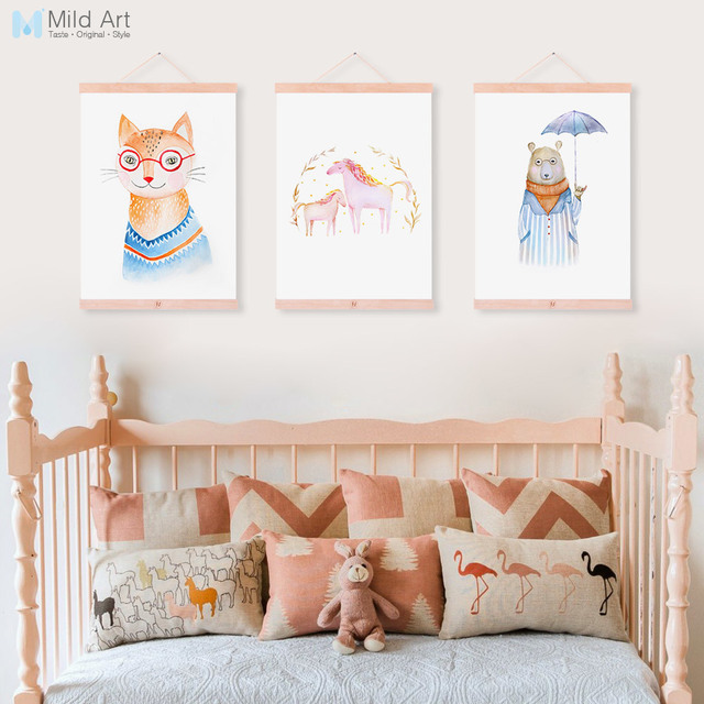Watercolor Cartoon Animal Horse Bear Fox Wooden Framed Canvas Paintin  Kawaii Kids Room Deco Wall Art Print Picture Poster Scroll