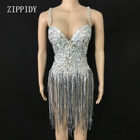 Shining Silver Crystals Fringes Bodysuit See Through Birthday Celebrate Mesh Outfit Party Dance Female Singer Show