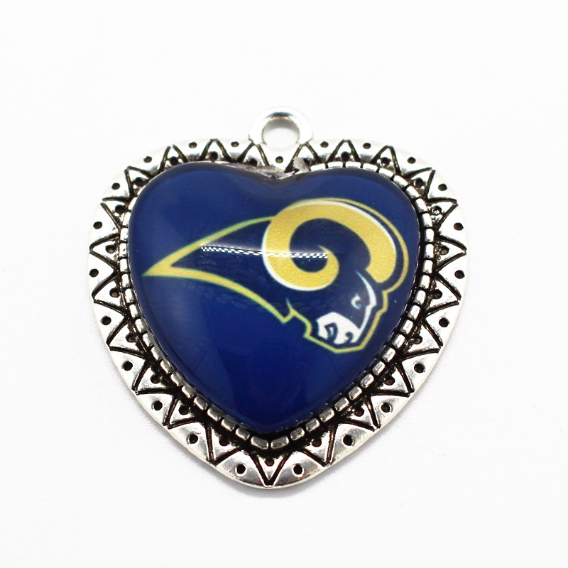 10pcs/lot Glass Pendant USA Football Sports St Louis Rams Team Dangle Charms Fit Men Women Gift Necklace Fashion Jewelry image