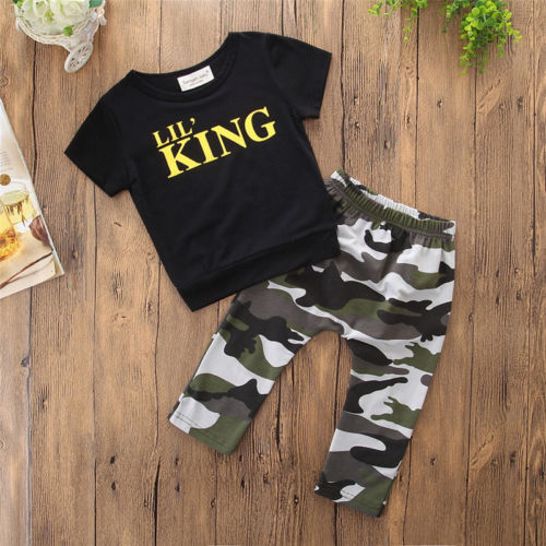 2018 TODDLER INFANT KID BABY BOY T-SHIRT TOPS+PANTS SUMMER OUTFITS CLOTHES SET A