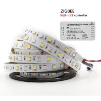 New Led RGB+CCT Strip 12mm Width FPC 5050 Strip IP20 IP65 IP67 12V RGBCCT LED Light Strip Flexible With Zigbee controller