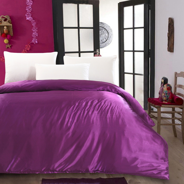 Lila Luxus High End Silksatin Twin Königin King Size Bettbezug