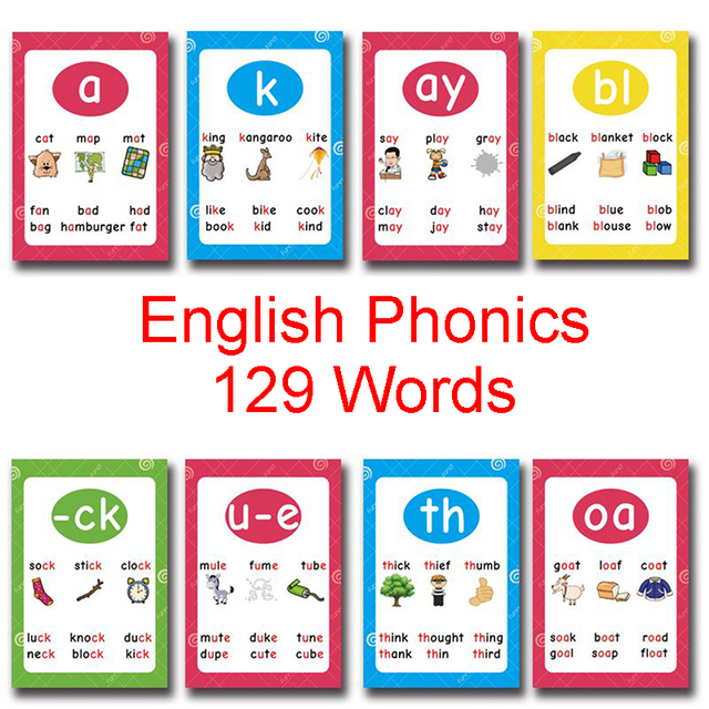 129Pcs/set English Phonics Root Pronunciation Rules Summary Learning  Educational Toys For Children Kids Gifts Teaching Aids