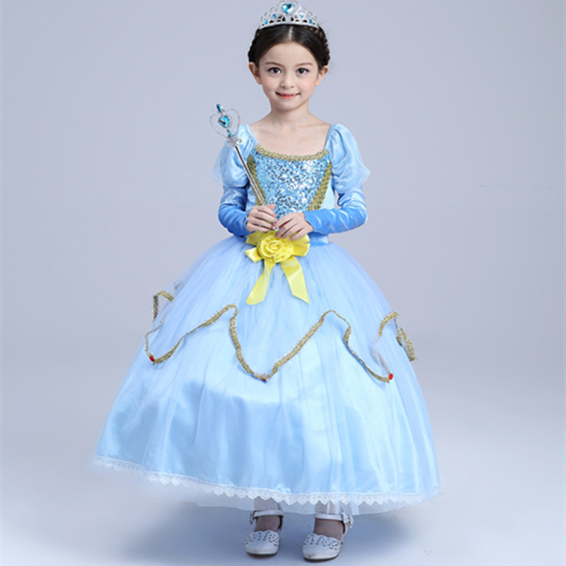 ФОТО Chinese Brand Kids Long Dress Lace Children Sophia Dresses Children's Cosplay Party Clothing Halloween Costume Dress For Girls