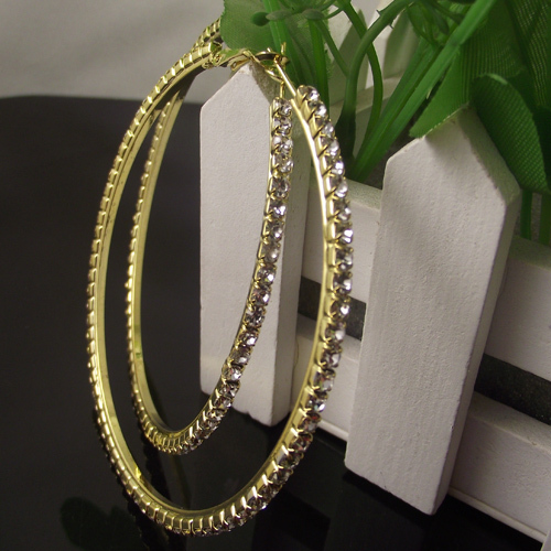 70mm Gold Hoop Earrings Paparazzi Basketball Wives CZ Crystal Rhinestone 12pairs/lot Free Shipping