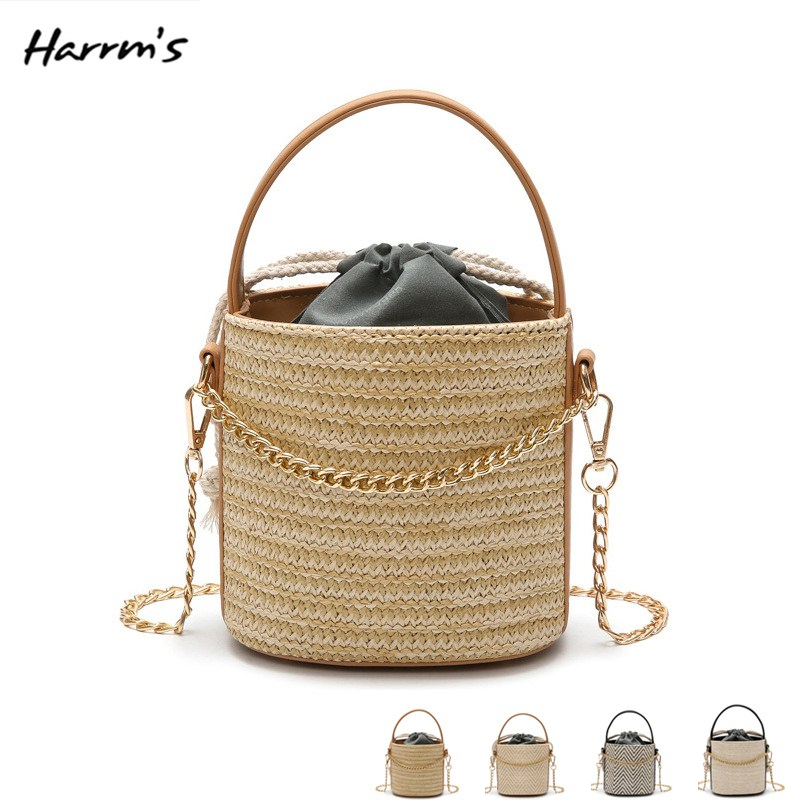 2018 Fashion Summer Tote Handbag Hand-Woven Straw Bag Popularity Straw Women Shoulder Bag Beach Holiday Travel High Quality Bag