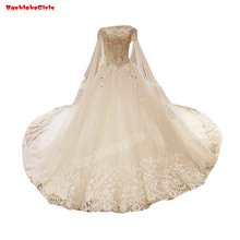 9031 Boat Neck Wedding Dress Handwork Lace Crystal Gown