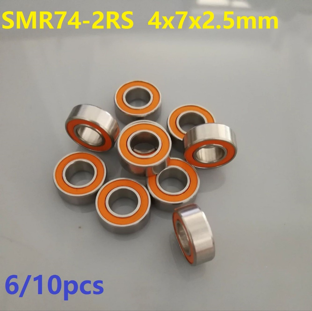 6pcs or 10pcs SMR74-2RS SMR74 RS 4x7x2.5 mm ABEC7 Stainless Steel hybrid Si3n4 ceramic bearing fishing reel bearings 4*7*2.5 2018 hot sale time limited steel rolamentos 6821 2rs abec 1 105x130x13mm metric thin section bearings 61821 rs 6821rs