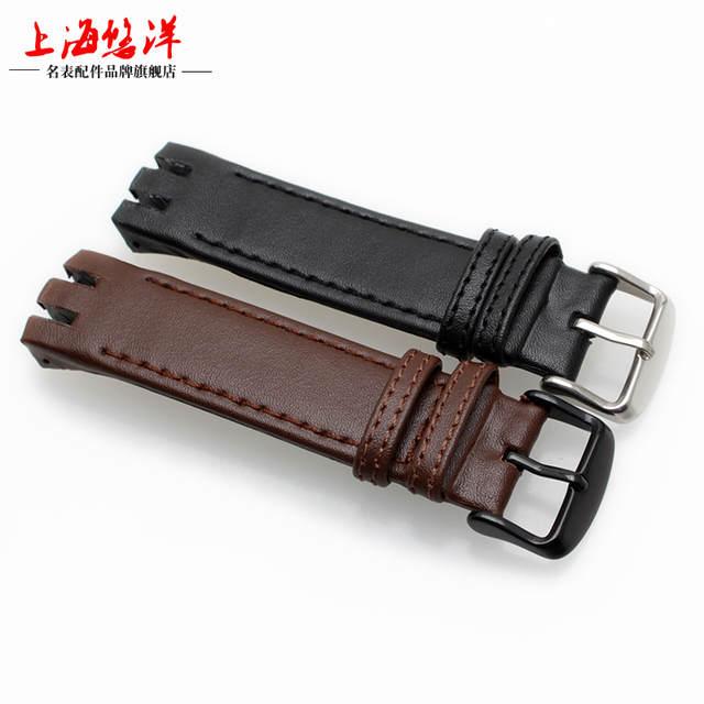 35349bd30e1 1 1 Original Black Brown Genuine Leather Watchband for Swatch Men Women Watch  Band Wrist