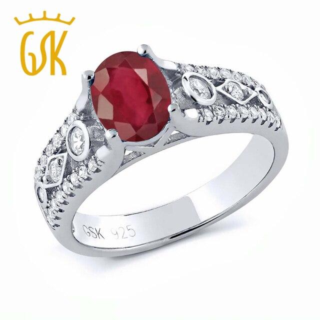 GemStoneKing 2.06 Кт Овальной Подлинной Африканский Красный Рубин Кольцо Стерлингового Серебра 925 Пробы Старинные Обручальные Кольца Для Женщин