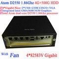 desktop server with fan Intel Atom dual core D2550 1.86G 4*82583V Gigabit LAN Wake on LAN Watchdog 4G RAM 500G HDD Windows Linux