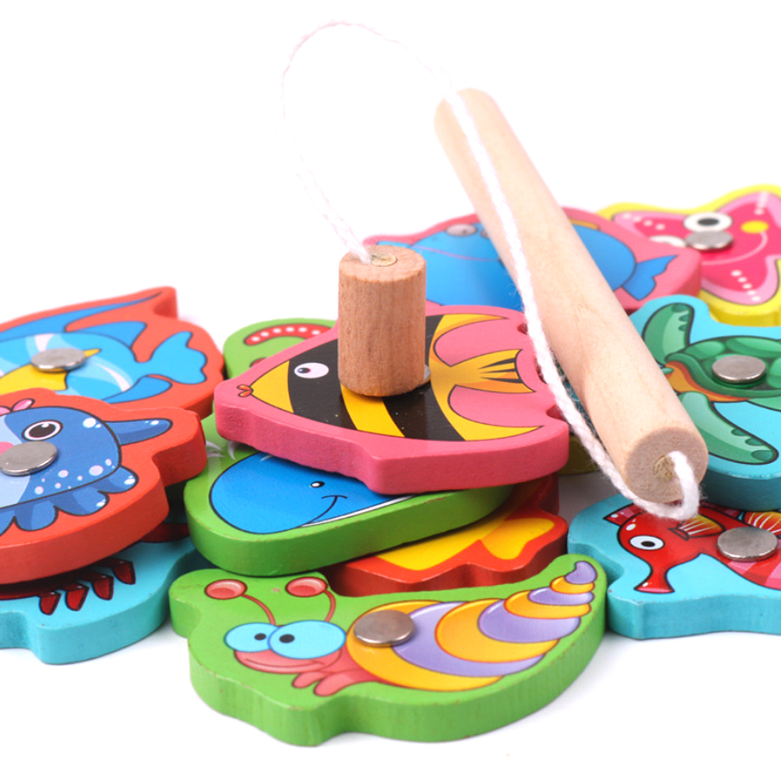 Rowsfire 1 Set Children Pretend Play Wooden Magnetic Fishing Game Early Educational Toys For Children Games Pink in Fishing Toys from Toys Hobbies