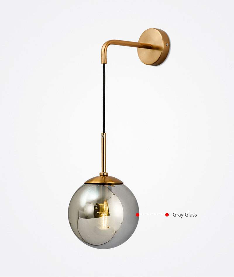 Nordic Post Modern LED Wall Lamp Creative Glass Ball Mirror Bedside Wall Lamps Vintage Wall Light For Living Room Heme Deco (6)