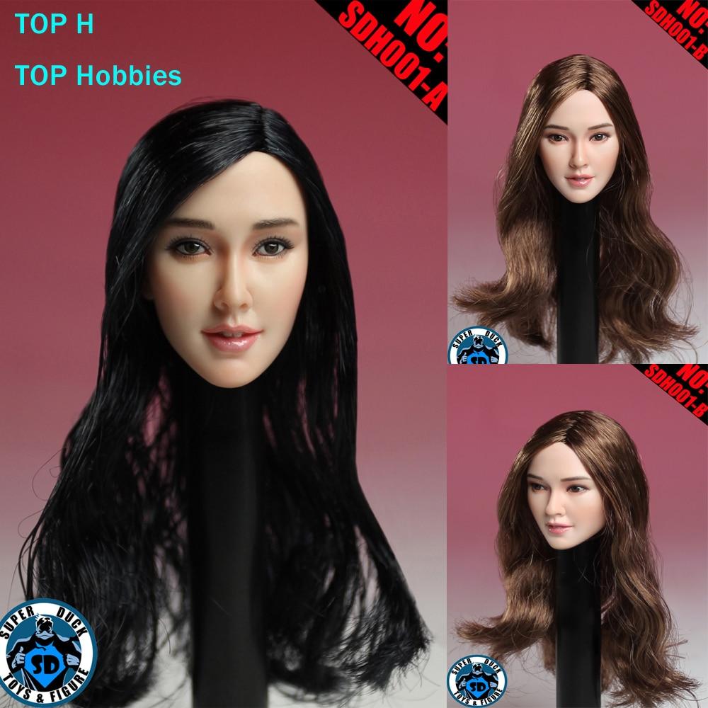 TOP Habbies Super Duck Carving 1/6 SDH001 A/B Asian Girl Head Sculpt Black/Brown Hair for Female Phichen Jiaodoll Body Figure