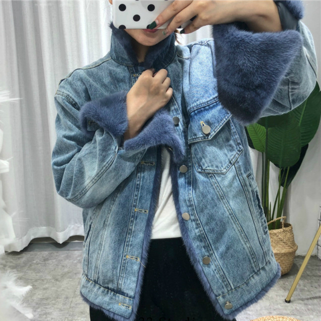 OFTBUY Brand Real Fur Coat Winter Jacket Women Denim Parka Natural Mink Fur Duck Down Coat Thick Warm Streetwear Casual Luxury