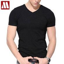 Новинка, стильная мужская летняя футболка с коротким рукавом, облегающие хлопковые футболки с v-образным вырезом для мужчин, большие размеры до 4XL 5XL, мужские футболки для фитнеса