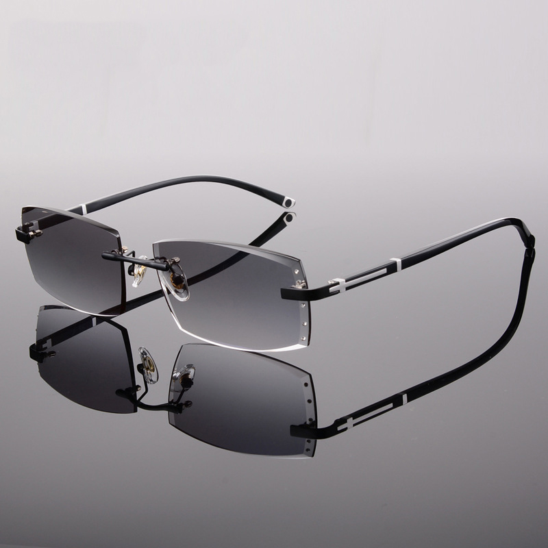 ed247739df Vazrobe Rimless Glasses Men Resin Lens Prescription Spectacles Diopter  Eyeglasses Frame with Sun Glasses Lens Man Quality
