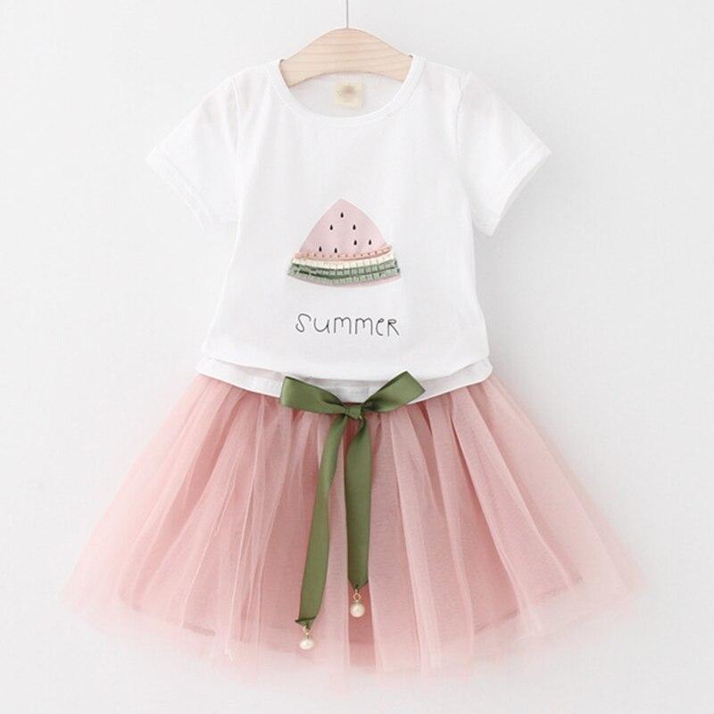 Girls Dress 2019 Märke Barnkläder Butterfly Ärm Brev T-shirt + - Barnkläder - Foto 2