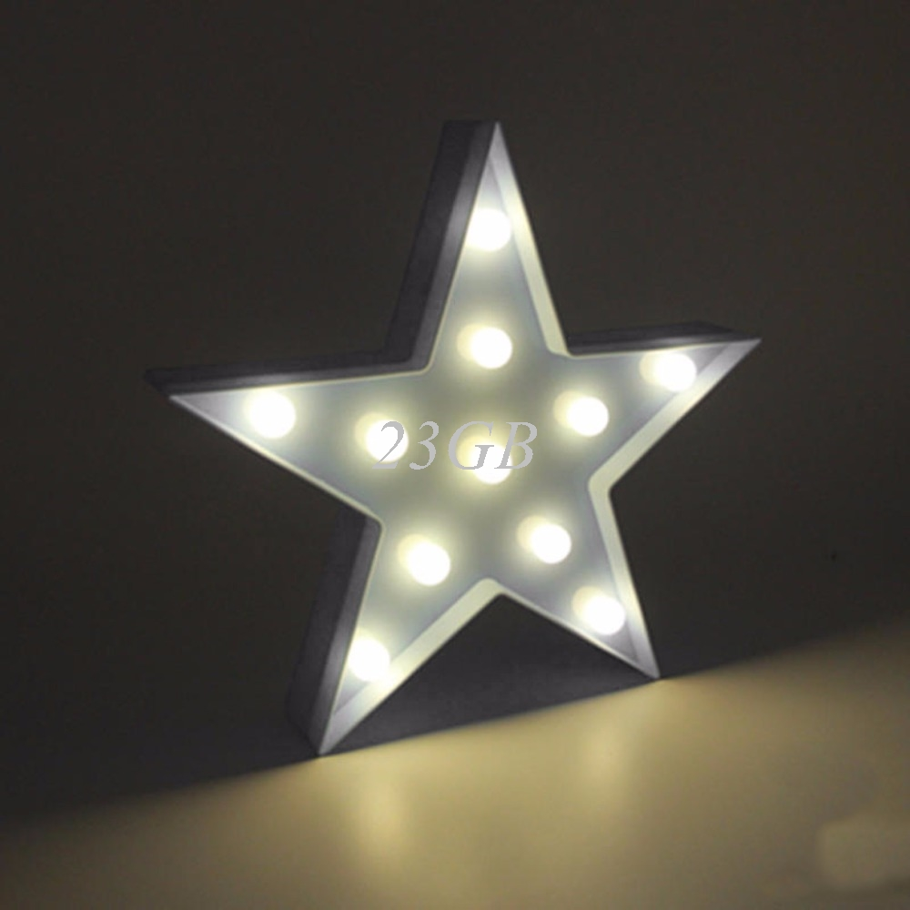 2017 NEW 3D Marquee Lamp With 11LED Battery Operated Night Light Warm White White Stars APR28