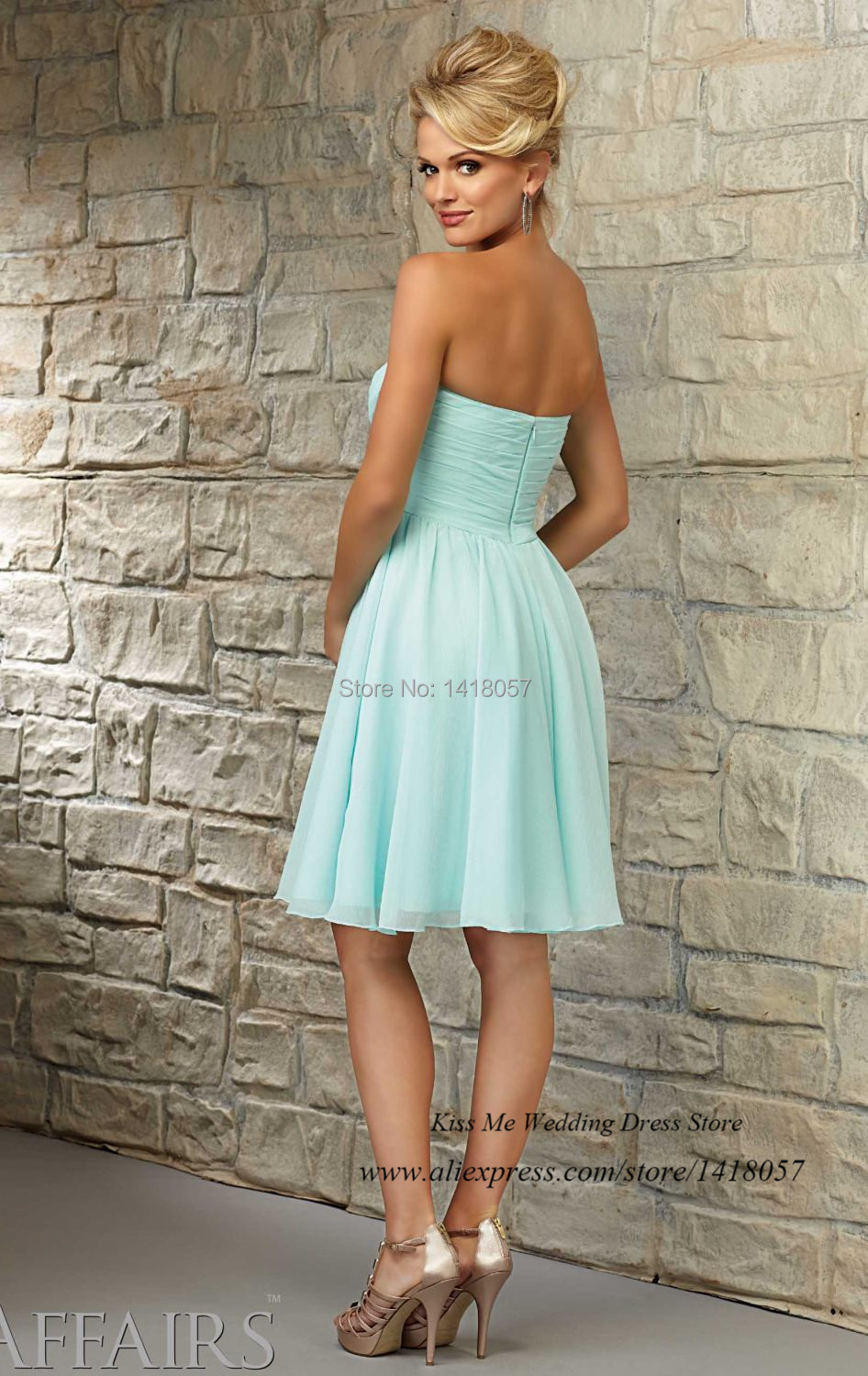 Vestido de Dama de Honra Short Mint Green Bridesmaid Dresses 2015 ...
