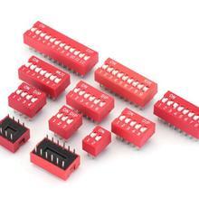 10 шт./лот, DIP-переключатель, тип слайда, красный, шаг 2,54 мм, 2 ряда, DIP тумблеры 1p 2p 3p 4p 5p 6p 7p 8p 9p 10p 12p