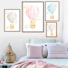 Bear Rabbit Elephant Hot Air Balloon Wall Art Canvas Painting Watercolor Nordic Posters And Prints Pictures For Kids Room