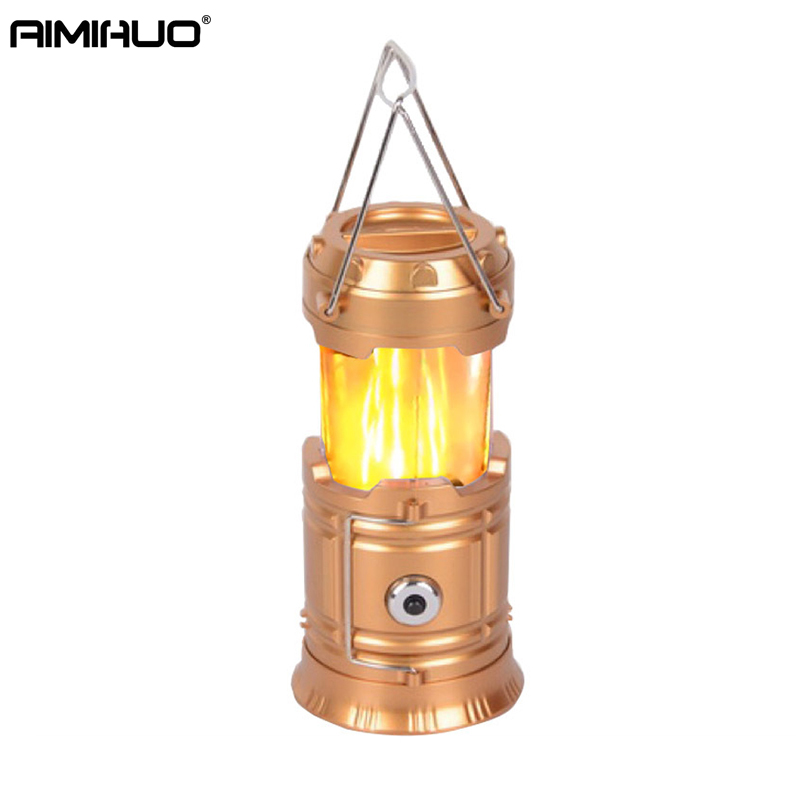 AIMIHUO Newest Flame LED Camping Light Outdoor Portable Lantern Camping Lamp Telescopic Tent Light LED Lantern For 3*AA Battery