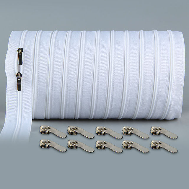 10 meters Zipper #3 White Quilt zipper Nylon coil zippers for sewing wholesale Double Sliders Closed End Sewing Craft