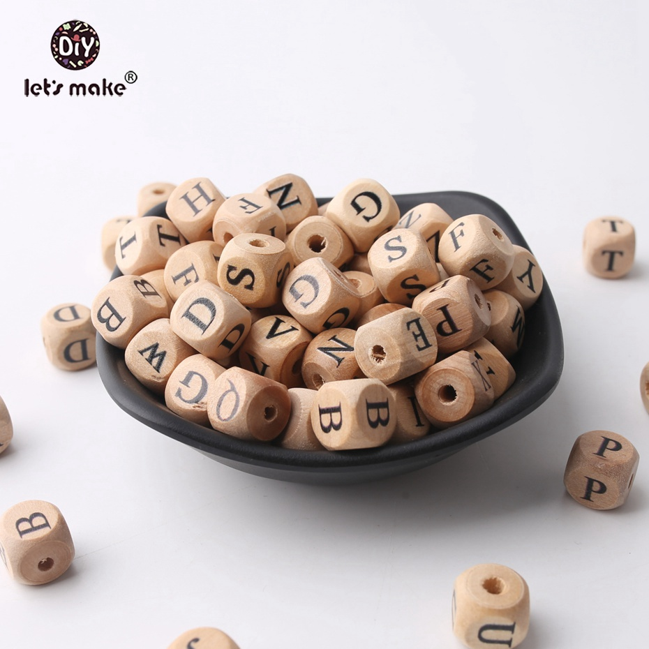 Let's Make Baby Teething Square Shape Beech Wood Letter Beads Crib Toy 12mm 50pc Teething Jewelry DIY Crafts Chew Beads